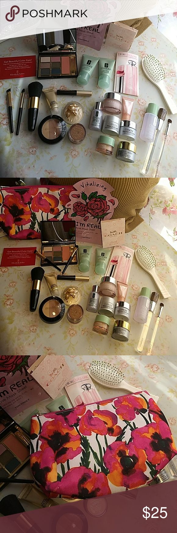 Beauty Bundle Facial Care & Cosmetics Beauty bundle travel kit. Includes products from Dior, Clinique, Elizabeth Arden, Estee Lauder, Coach and more. Eyeshadow, mascara, bronzer, eye treatment, face treatment, hairbrush, bronzer brush, 3 Shadow shaping brushes, perfect for the girl on the go. All new products never touched unopened enclosed in a beautiful poppy print Clinique cosmetic bag.  Surprise gift inside worth $18! Coach, Clinique and more Makeup Brushes & Tools