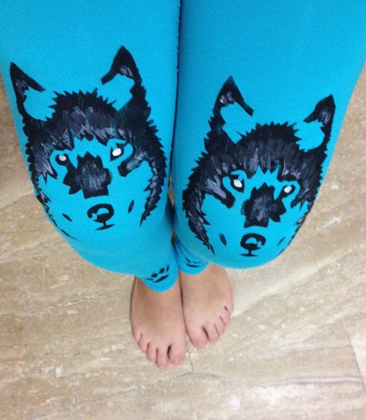 WOLF leggings, Turquoise womens leggings, Plus size workout, Blue leggings
