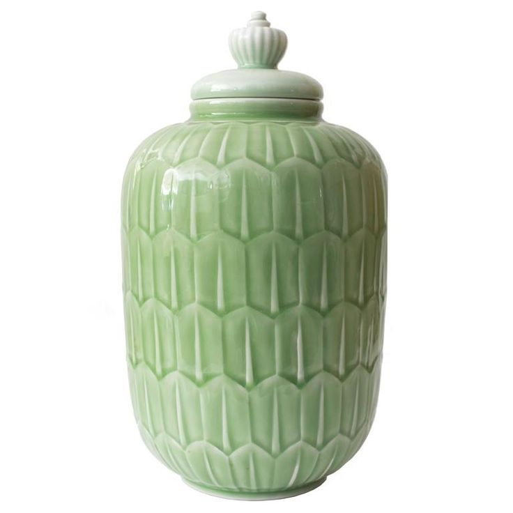 Scandinavian Modern Gunnar Nylund Jade Glazed Jar for Rörstrand | From a unique collection of antique and modern jars at https://mario.1stdibs.com/furniture/decorative-objects/vases-vessels/jars/