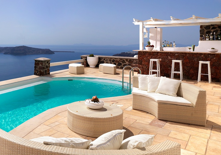 @Tholos Resort Hotel Santorini - our pool and the pool bar #destination #greece #santorini