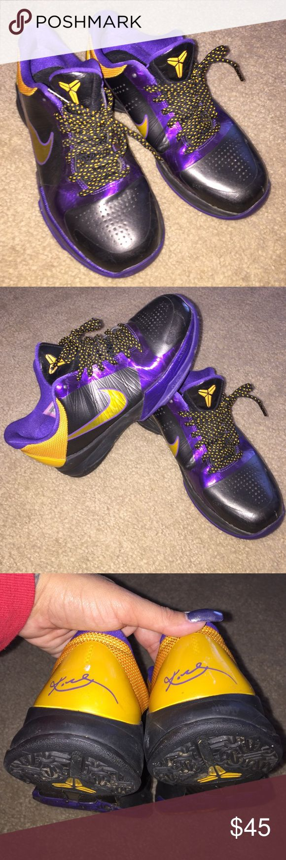Kobe Bryant's Nike 5Y Great used condition, just minor scuffs on back yellow panels. Size 5Y, Women's 6.5/7 Nike Shoes