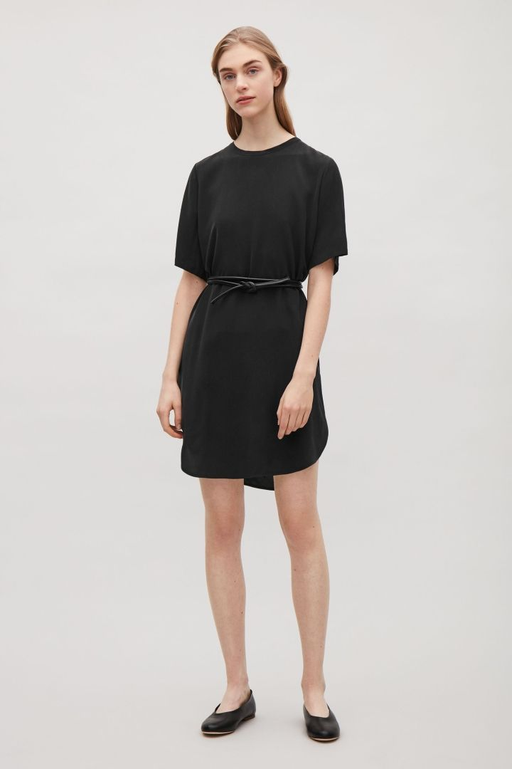 COS image 1 of Oversized silk t-shirt dress in Black