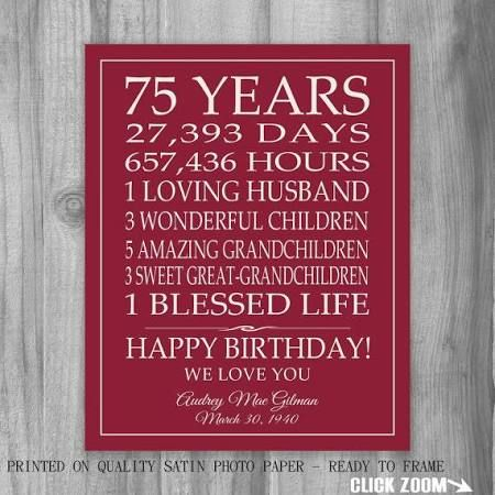 75th birthday party ideas for mom - Google Search