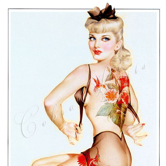 Vargas Pin Up Girl with Tattoo  Digital Sheet CP42  by CobraPrints, $2.50