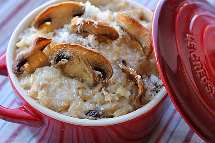 Risotto funghi ricotta e besciamella   riso integrale