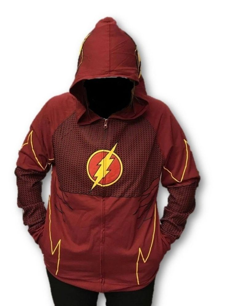 The Flash Fastest Man Alive DC Comic Licensed Cosplay Zip Up Hoodie Adult SM-XXL #BioWorld #Zipuphoodie