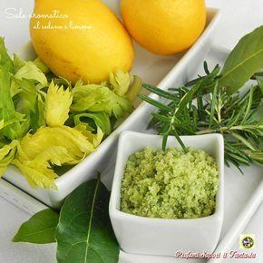 Sale aromatico al sedano e limone con erbe fresche profumate