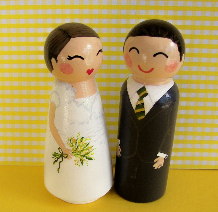 Hand Painted Love Boxes Custom Wedding Bride Groom Cake Topper Kokeshi Peg Dolls Wood. $115.00, via Etsy.
