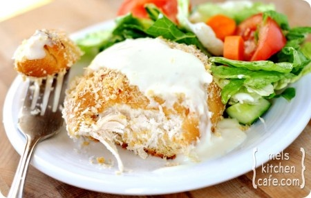 Chicken pillows with creamy parmesan Sauce, made with homemade cresent rolls