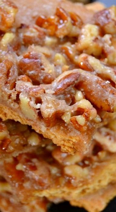Pecan Pie Bark ~ Dessert recipe with nuts
