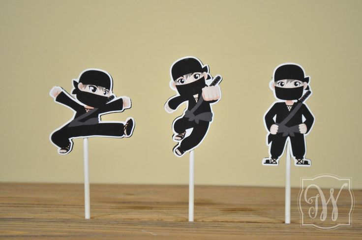 Ninja Theme Birthday Party Cupcake Toppers - Ninja Birthday - Ninja Party - Ninja Decorations - Ninja Cupcake Topper by IWHandCraftedDesigns on Etsy https://www.etsy.com/listing/519091763/ninja-theme-birthday-party-cupcake