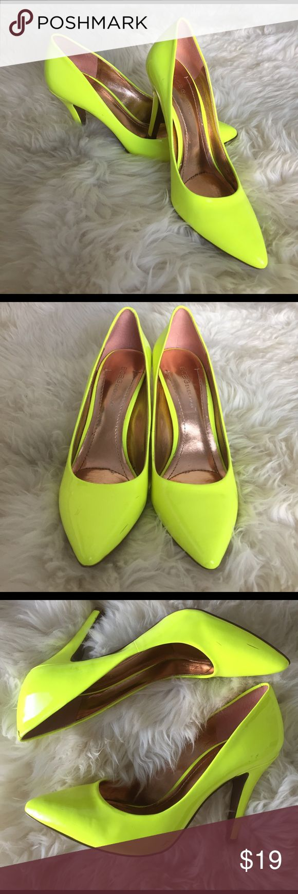 """BCBG GENERATION Neon Yellow Patent Leather Pumps Showstoppers!! Neon yellow pumps will be the hottest thing this summer! 3.5"""" heel. BCBGeneration Shoes Heels"""