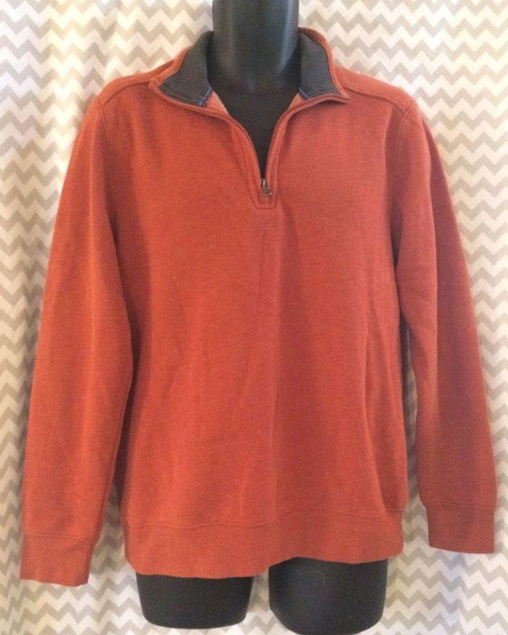 Arrow Mens Pullover Sweater Collared Half Zip Burnt Orange Cotton Size Small  | eBay