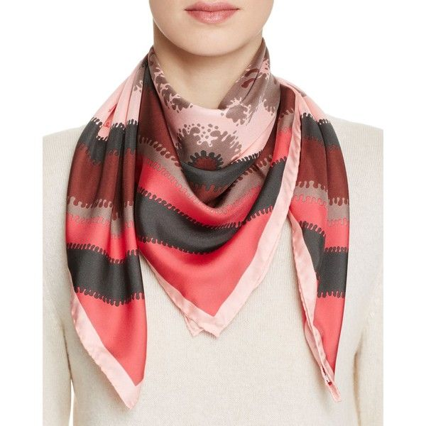 Echo Richard Allan Willa Silk Twill Scarf (415 BGN) ❤ liked on Polyvore featuring accessories, scarves, lipstick red, silk twill scarves, echo scarves, red scarves and red shawl