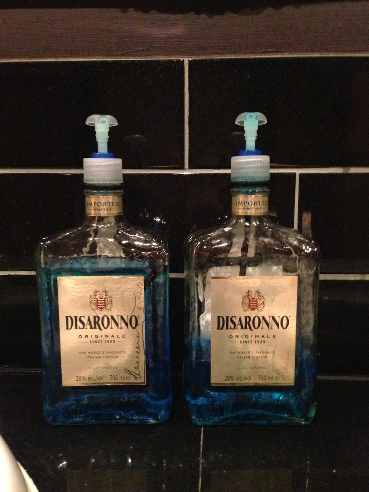 Disaronno bottle reused as soap dispenser. Up cycle