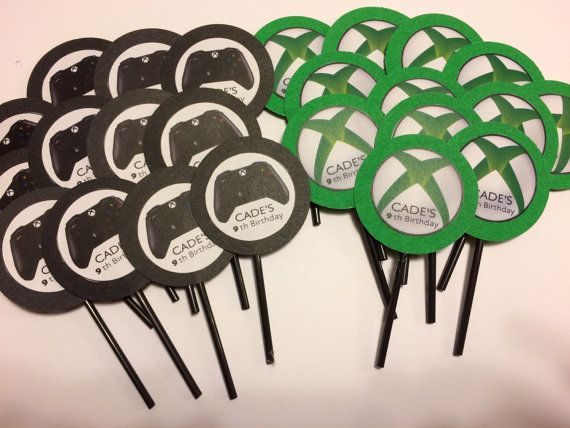 25 pc CUPCAKE TOPPERS XBOX Party Decoration by IdeasForYourParty