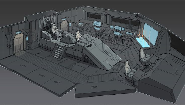 Fi Sci Spaceship Interior   quick sketch of a space destroyer's bridge and CIC combined.