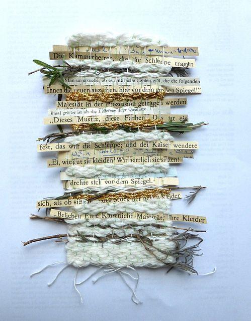 Ines Seidel : tissage des mots, bois et textiles. Dessins mêlent travaux d'aiguilles et littérature...