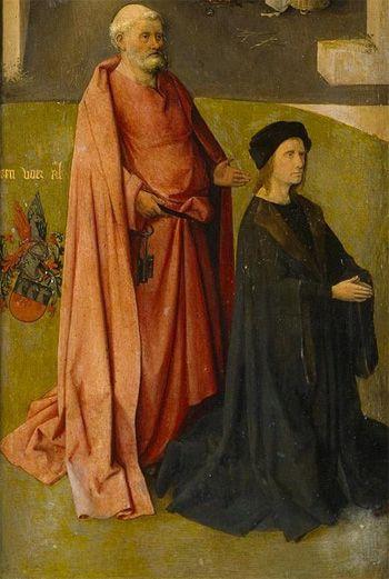 HIERONYMUS BOSCH - Adorazione dei Magi (Trittico dell'), anta sinistra San Pietro con donatore - 1485-1500 circa - Museo del Prado di Madrid