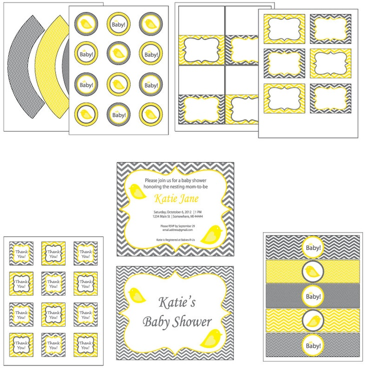 Gray Chevron Complete Bird Baby Shower - You Choose Yellow, Blue or Pink - 8 Printable PDF Files. $16.00, via Etsy.
