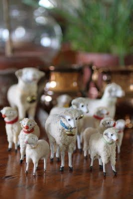 Vintage German wool sheep with stick legs and paper collars ~ my grandma would let me take these from her manger and play with them.