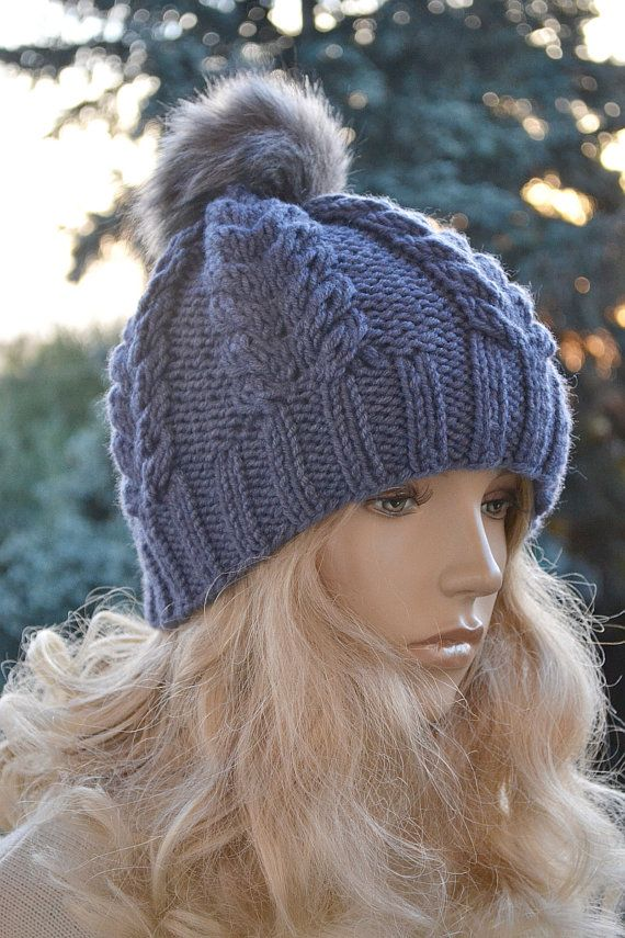 Knitted blue gray  cap hat  FUR POMPOM Women's Hat by DosiakStyle
