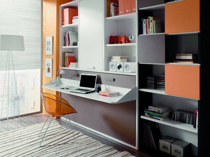 Cama plegable horizontal con escritorio y amplia librería ... - photo#39