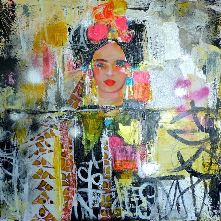 My Frida! - Painting, 80x2x80 cm ©2015 by Audrey Marienkoff - Street Art (Urban…