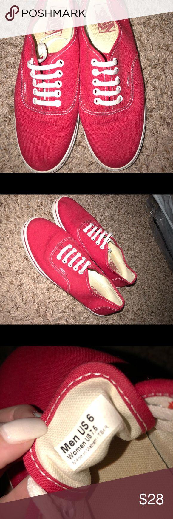 Vans authentic red Men's size 6 women's size 7.5 worn once Vans Shoes Sneakers