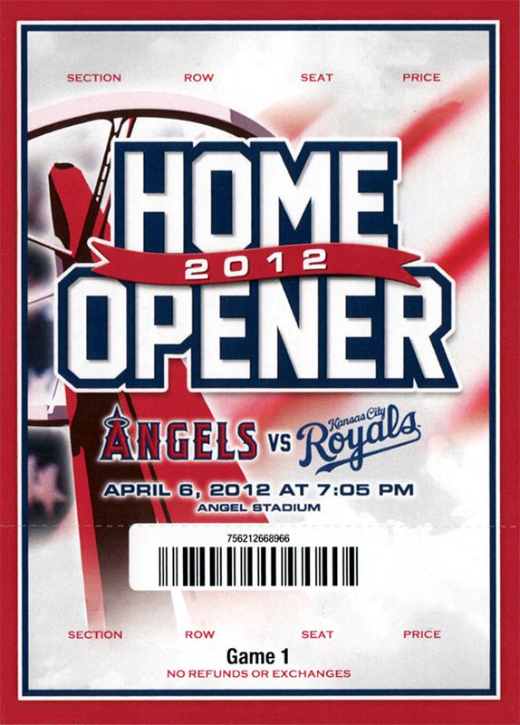 2012 Season Opener Ticket Stub for the Los Angels Angels vs Kanas City Royals