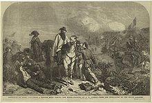 Garibaldi, Andrea Aguyar (a cavallo) e Nino Bixio durante l'assedio di Roma. Disegno del 1854 di William Luson Thomas basato sullo schizzo di George Housman Thomas realizzato nel 1849