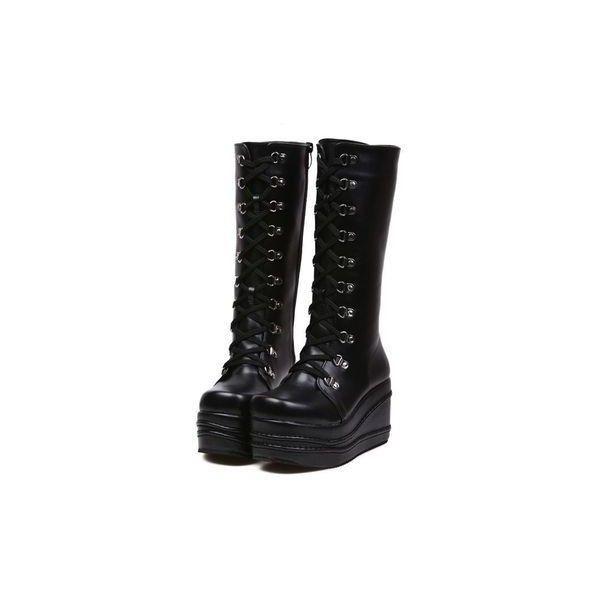 Koi Footwear X Lace Up Platform Shoe In Black