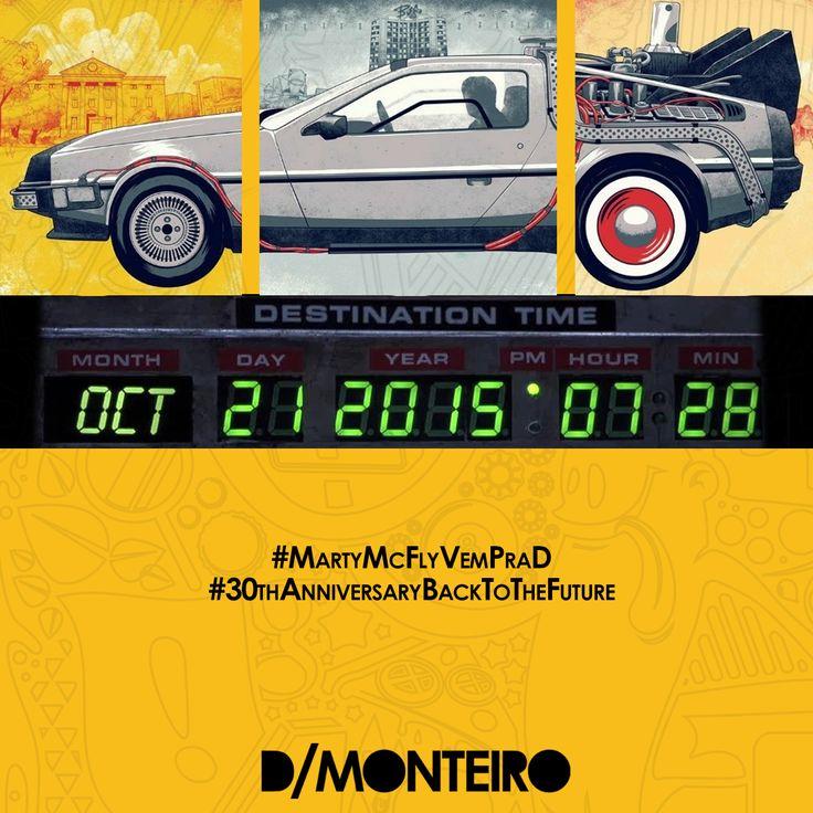 """Nós jamais esqueceríamos dessa data! Foi no dia 21 de outubro de 2015 que Marty McFly (Michael J. Fox) e o Dr. Emmett Brown (Christopher Lloyd), personagens da saga """"De volta para o futuro"""", estacionaram o DeLorean em uma Hill Valley totalmente mudada. No futuro criado no filme, carros voam, hologramas anunciam a estreia de """"Tubarão 19"""" nos cinemas, skates flutuam e tênis se ajustam sozinhos aos pés...é...acho que na hora que o #MartyMcFly chegar ele vai decepcionar um pouco! rs"""