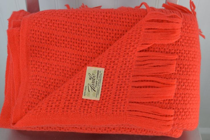 Faribo Orange Wool Throw Thermal Blanket Fringed Vintage – Patzi Blankets - vintage bedding linens, quilts, throws & apparel