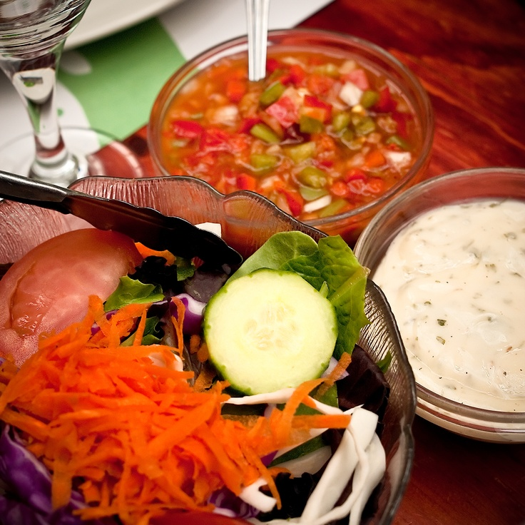Unlimited salad with our special home made vinaigrette and salsa.  Le Milsa, Montreal, Qc