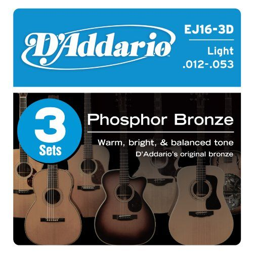D'Addario EJ16-3D Phosphor Bronze Acoustic Guitar Strings, Light, 3 Sets D'Addario's most popular acoustic guitar string set. Preferred for its warm, bright, and well balanced acoustic tone. Buy 3 sets and save with this environmentally friendly, corrosion resistant 3-pack. Made in the U.S.A. for the highest quality and performance. String Gauges: Plain Steel .012, .016, Phosphor Bronze Wound .024... #D'Addario #Musical_Instruments