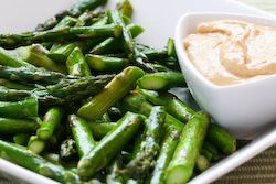 Roasted Asparagus Recipe with Creamy Tahini-Peanut Dipping Sauce