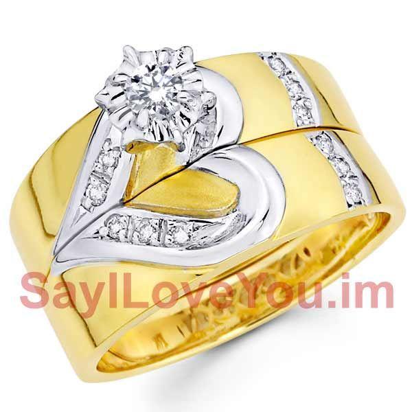 14k Two Tone Heart Wedding Band Amp Engagement Ring Set