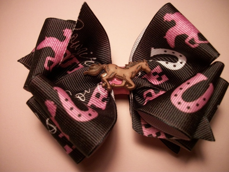 Toddler Western Hair Bow Brown and Pink Cowgirl by preciouscurls, $6.50