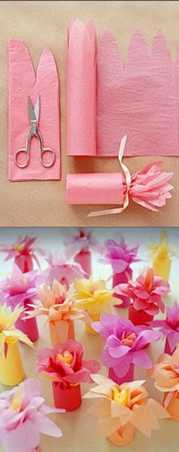 Tissue Paper Flower-Wrapped Favors. Check out the tutorial of these simple and adorable party favors made with colorful tissue paper