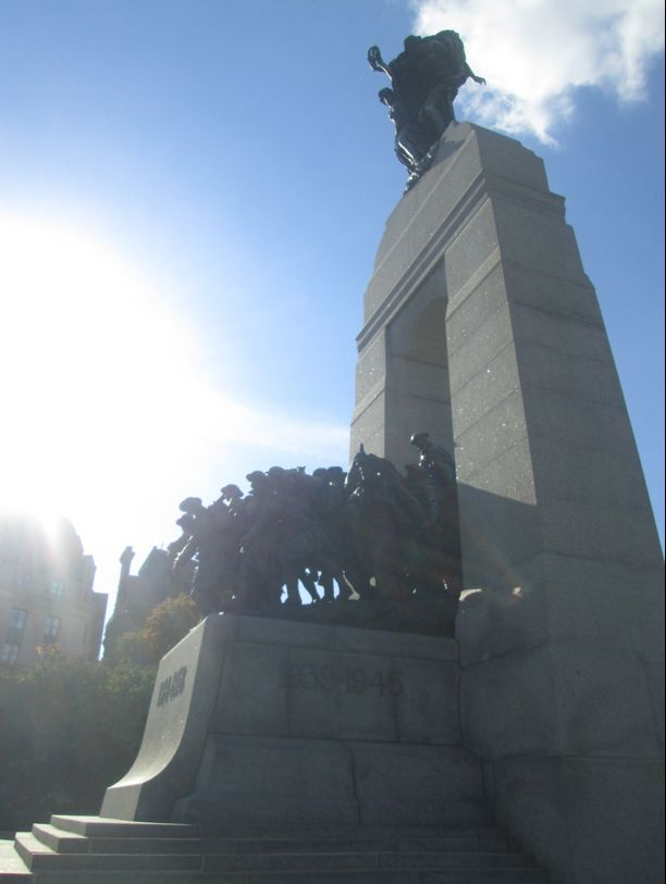 The sun bathes the National War Memorial in #Ottawa #Ontario #Statue (Photo by Brittany Hendry) #Canada