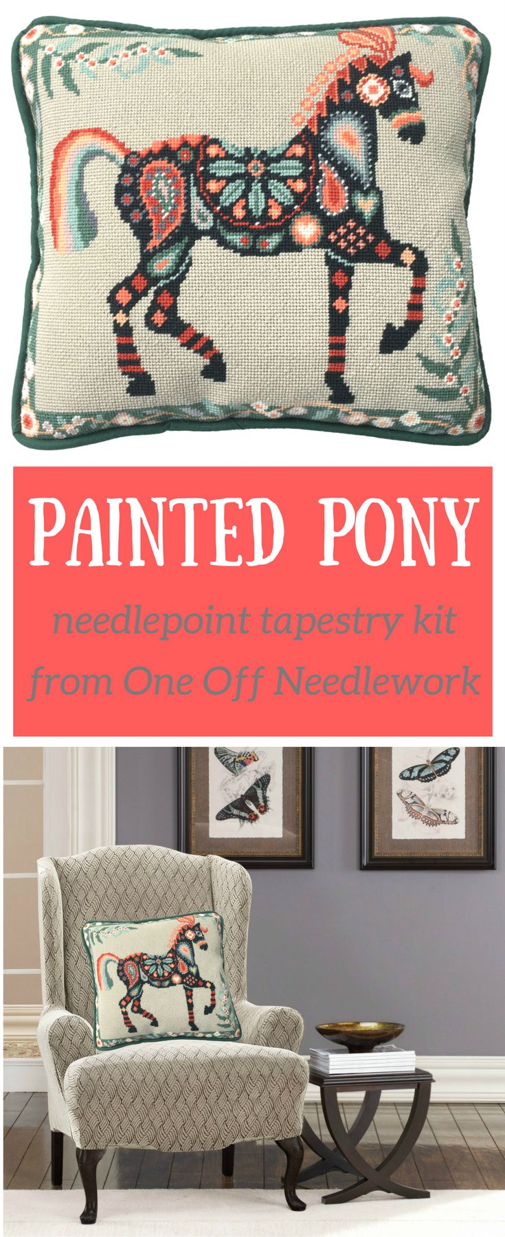 New needlepoint tapestry kit from One Off Needlework. A perfect craft project for a beginner stitcher. Our website has all the support you need.