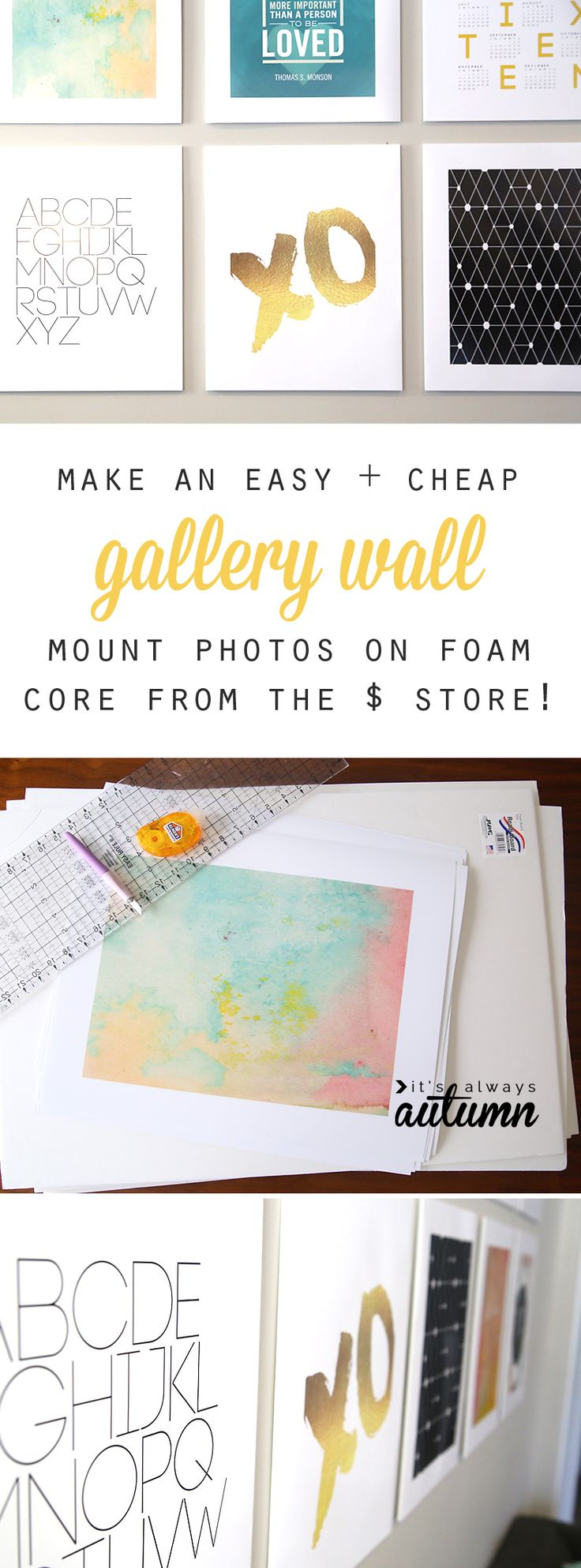 Save money on your gallery wall by mounting large photos on foam core board from the dollar store instead of framing. It's cheap, easy, and looks great! How to make a modern gallery wall.