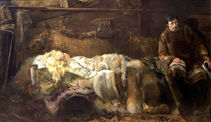 """""""The Death of Ellenai"""", 1883, inspired by Juliusz Słowacki's poem """"Anhelli"""" about the fate of Polish exiles in Siberia in the wake of the 1831 uprising against Russia."""
