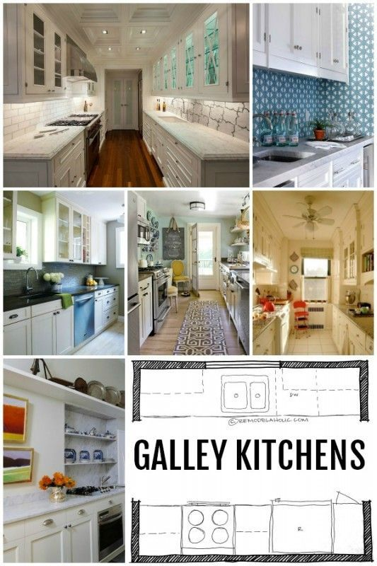 14 best galley kitchen images on pinterest kitchens for Common kitchen layouts