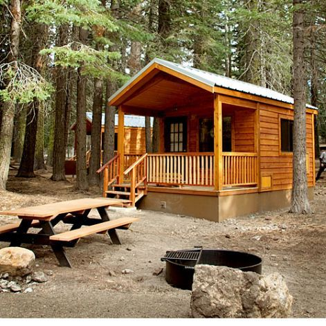 Manzanita Lake Camping Cabins, Lassen Volcanic National Park, CA  Why it's cozy: New in 2011, these log cabins have private front decks and ...