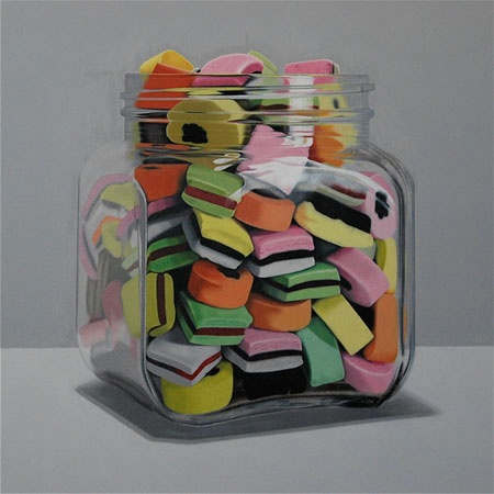 """""""All sorts"""" by Alex Emsley, South African artist. He was born in 1973. Emsley works in the traditions of still life painting and portraiture. He works in such a way as to re-contemporize these significant genres. In his still life works he arranges random objects and depicts them with incredible and obsessive detail. Emsley's particular use of acidic colour transforms objects into uncanny visions. These objects become so defiant that they almost exist without the presence of human life."""