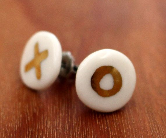 FTC-P-0103 KISS/HUG porcelain earrings by FlowntheCoup on Etsy