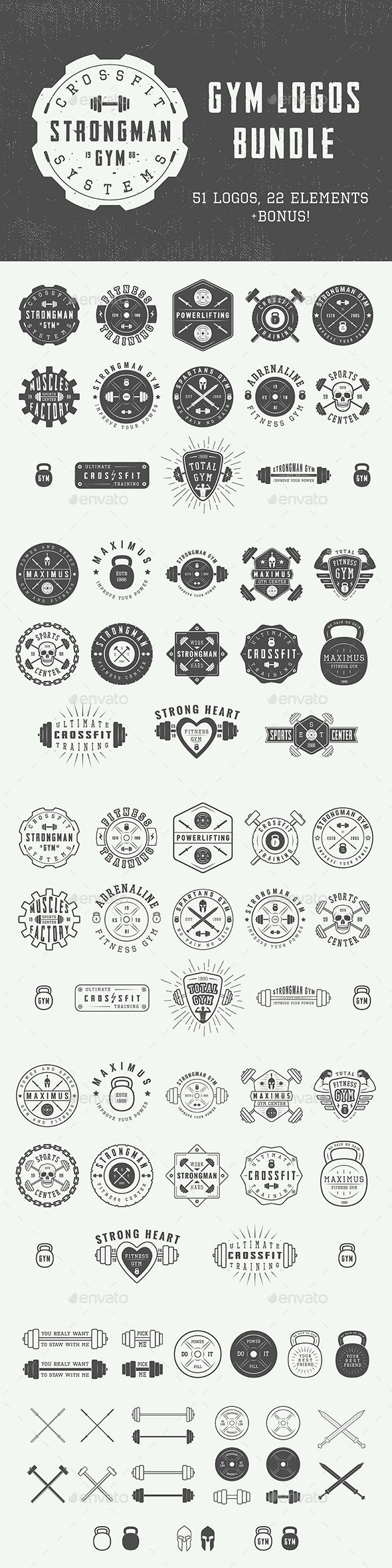 Vintage Gym Emblems Set of vintage gym logos, badges, emblems and design elements Can be used for logo design, badge design, shop sign and much more. You get: 51 logos 22 design elements 8 fun motivational posters Easy to modify, edit, re-size, vectors available in AI and EPS formats, all 100% editable. Text 100% editable and can be easely removed. All files are in AI, EPS, PSD and JPG formats. Fonts and mock-ups are not included. List of used fonts: Octin Vintage Headliner 45 Promesh Two La