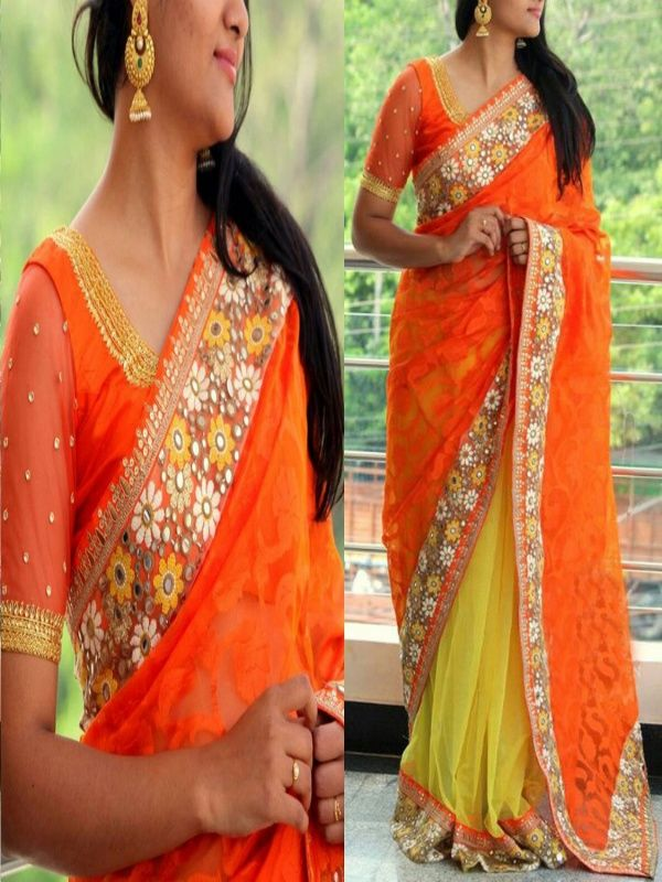 Elegantstar Orange Georgette Designer Saree with Matching Color Jacquard Blouse.It contained the work of Multi & Hand with Lace border.The Blouse which can be customized up to bust size 44